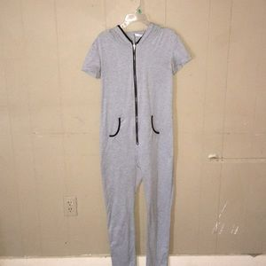 Gray Hoodied Zip Up Romper with pockets